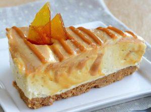 White Chocolate-Caramel Swirl Cheesecake