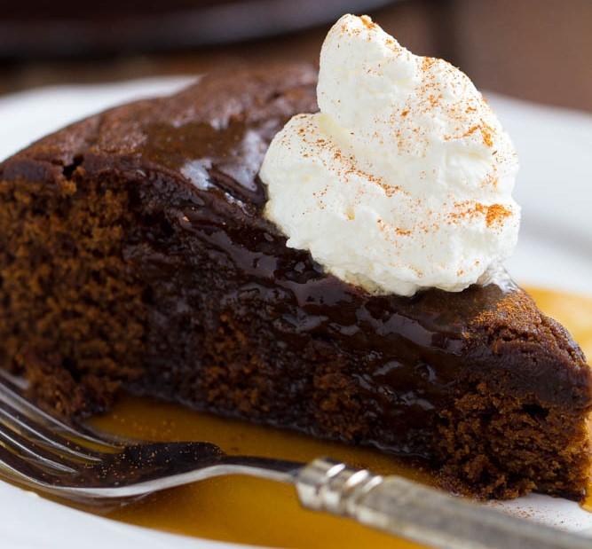 Gingerbread Cake with Caramel Sauce
